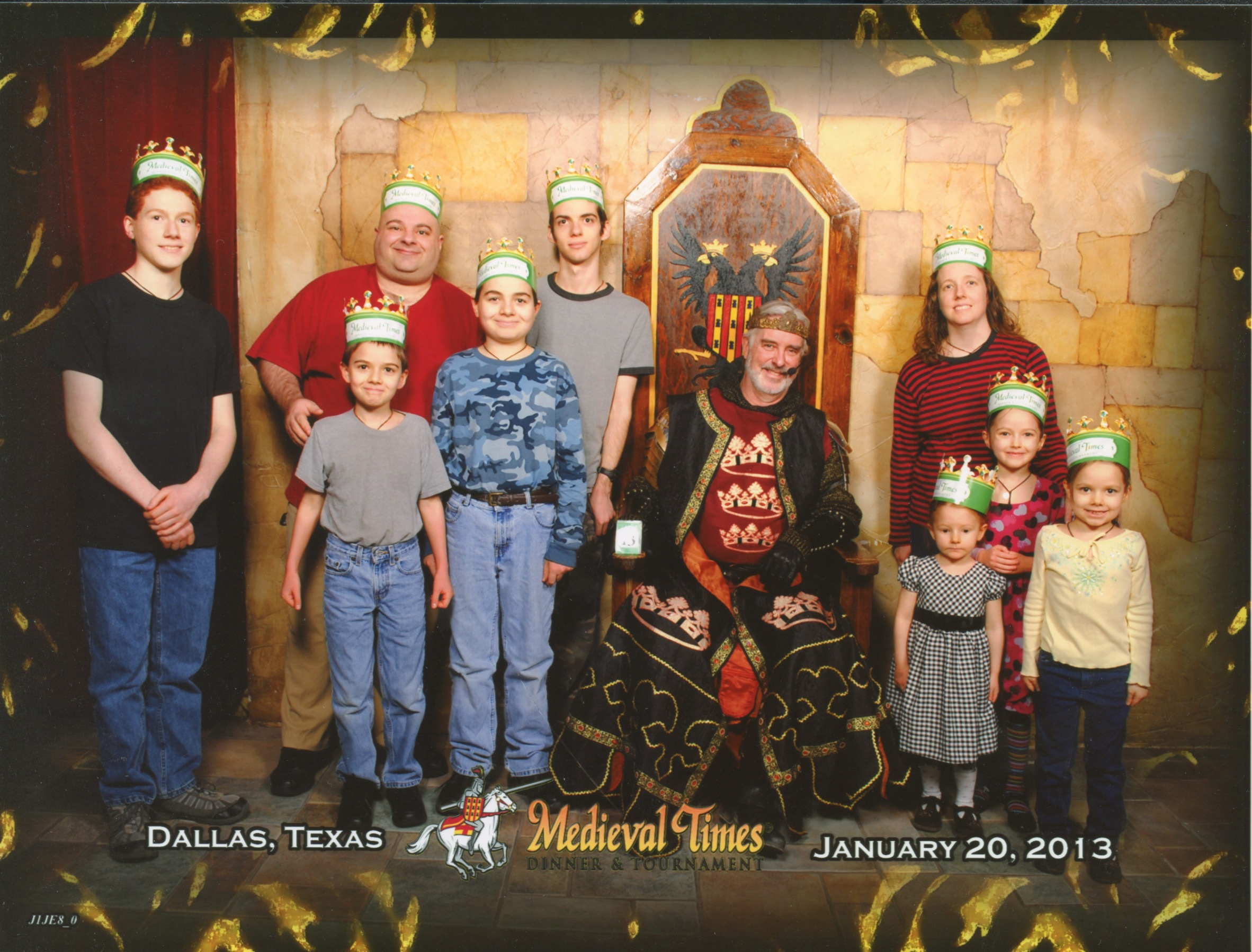 Medieval Times Throne Room. Michael, Papa, Cross, Nunzio, Joseph, The King, Jen, Catie, Jacinta and Bernie. Bottom Text: 'Dallas, Texas January 20, 2013'