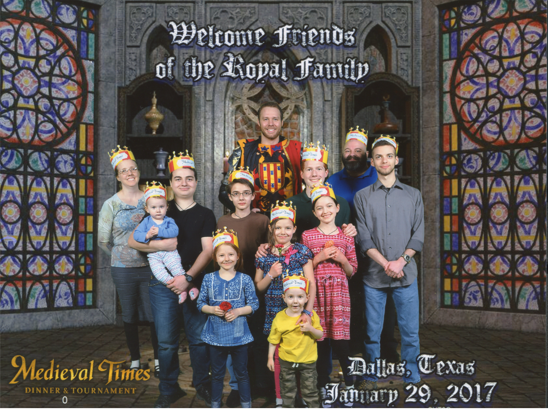 Medieval Times Stained Glass Windows Background. Jen, Nunzio hoilding Caterina, Catie, Cross, Eric the Red and Yellow Knight, Bernie, Becket, Michael, Jacinta, Justin and Joseph. Bottom Text: 'Dallas, Texas January 29, 2017'